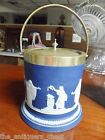 Blue Jasperware Adams Tunstall England buiscuit Jar w/ Handle & Metal Lid 1890s