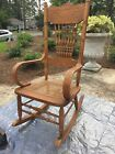 Vintage Solid Oak Rocker Rocking Chair Original Version Cane Seat