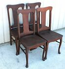 4 1905 1915 QUARTERSAWN OAK T BACK SADDLE SEAT CUT CLAW FOOT DINING ROOM CHAIRS