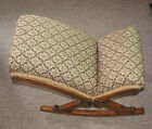 A VINTAGE OAK ROCKING GOUT STOOL WITH TAPESTRY UPHOLSTERY