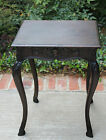 Antique French Dark Oak PETITE End Table with Drawer Night Table Side Tea Table