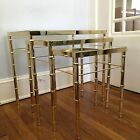 MID CENTURY MODERN HOLLYWOOD REGENCY FAUX BAMBOO~RATTAN NESTING TABLES