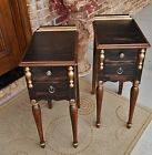 PR 1920s DECO VINTAGE SLEEK FRENCH EMPIRE WALNUT NIGHTSTANDS TABLES BLACK RUBBED