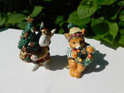 Retired Fitz & Floyd Christmas Lodge Salt & Pepper Shakers Bunny & Bear