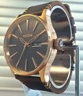 NEW NIXON SENTRY LEATHER ROSE GOLD / GUNMETAL / BROWN A105 2001 WATCH