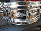 ROGERS DYNASONIC 5 X 14 CHROME OVER BRASS SHELL SNARE DRUM SCRIPT LOGO 1970s