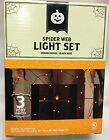 Halloween Outdoor Decor 3Ft Diameter Spider Web Orange Light Set With Spider
