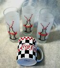 3 Coke-Cola Coke Frosted Glasses Bottle w/Straw Print & 1 Gibson Coffee Cup #1