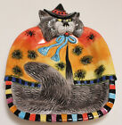 Fitz and Floyd Kitty Witches Canape with Spiders Halloween Ceramic Plate