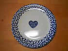 Tienshan Folk Craft Blue HEARTS Sponge Set of 3 Dinner Plates 10 1/4