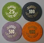 Lot 4 Aladdin Casino Chips Ncv Las Vegas 1000 500 100 25