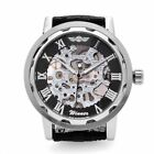Mechanical Men's Classic Black Leather Dial Skeleton Sport Army Wrist Watch
