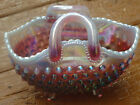 Fenton Iridized Plum Opalescent Hobnail Oval Basket Mint 1999 Art Glass