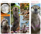 3 Cute OTTER BOOKMARKS Animal Art Book Mark Water Weasel Card Figurine Ornament