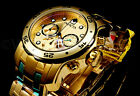 New Invicta Pro Diver Scuba 18K Gold Plated Gold Dial Chrono S.S Bracelet Watch