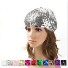 Fashion Women Sequin Beret Skull Beanie Hat Cap Stretchy Shimmer Dance Party New