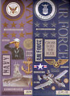 K  Co MILITARY Themed embossed stickers Air Force Navy Marines Quick ship