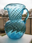Vintage Hand Blown Art Blue Aqua Glass Pitcher Creamer Swirled Applied Handle