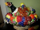 Fitz and & Floyd Venezia Lidded Tureen and Ladle Pheasant Fruit Basket Majolica