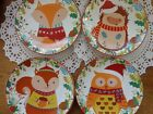 222 Fifth Christmas Friends Appetizer Plates * Set of 4 * Dessert Plates NEW