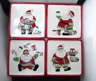 FITZ & FLOYD  Set of 4 Santa Claus Christmas Stocking Stuffers Snack Plates