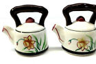 Vintage Japanese Teakettle Floral Salt And Pepper Shaker Set Yellow Daffodile