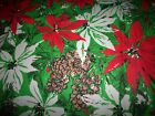 Vintage Homemade Christmas Poinsettia Tablecloth Red White Pinecones FREE SHIP