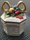 Fitz And Floyd Snowy Woods Octagon Box Fruit And Bow Snowflakes