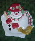 FITZ & FLOYD ESSENTIALS  PLAID CHRISTMAS SNOWMEN CANAPE PLATE