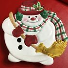 Fitz And Floyd Canapé Plate Plaid Christmas Snowman w Scarf Broom 9