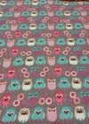Owl flannel fabric gray pink purple turquoise owls 26 warm soft material
