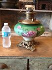 ANTIQUE VICTORIAN HAND PAINTED GWTW OIL LAMP BASE BANQUET ROSES ROYAL BURNER