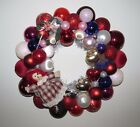 Christmas Valentines Day Wreath Vintage Ornaments 14 Red Pink Purple Handmade