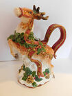 FITZ & FLOYD CHRISTMAS HOLIDAY KRIS KRINGLE REINDEER PITCHER 1993 Mint!