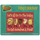 Lets All Go to the Lobby Dancing Snacks Vinyl Sticker Home Theater Movie 4 x 3