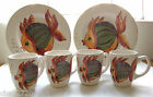 DINNERWARE (2 DINNER PLATES/ 4MUGS) FROM TABLETOPS GALLERY PESCADA HAND PAINTED