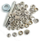Punch Tool Set w 15 Sets 15mm Silver Metal Poppers Snap Fasteners Button Studs