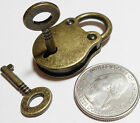 Small Little Lock and Keys - Antiqued Brass - REPRODUCTION - Heavy Duty