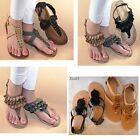 New Womens Sandals T Strap Thong Gladiator Flat Flip Flop Buckle Strap Shoes