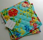 New APRIL CORNELL 2 POT HOLDERS pink on aqua floral 100% cotton Cheerful!