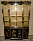 DREXEL CHINA CABINET Painted Floral Asian Style Display VINTAGE