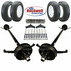 Tandem 5200 Lb Electric Brake Trailer Axle Kit Includes Trailer Tires Wheels