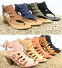 Womens Open Toe Strappy Gladiator Heel Low Wedge Sandal Shoes Size 55 11