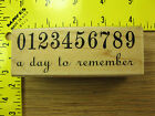 Rubber Stamp Day To Remember Saying Numbers Hampton Stampinsisters 1286