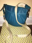 Coach Blue Aqua Teal Leather Pleated Crossbody Swingpack Shoulder Bag Purse
