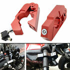 Universal Motorcycle CNC Handlebar Grip Brake Lever Lock Anti Theft Security Red