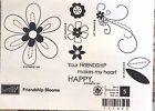 SUM STAMPIN UP FRIENDSHIP BLOOMS WOOD SET OF 5 LOVELY LINE ART STAMPS NIB
