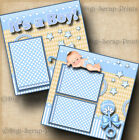 ITS A BOY baby 2 premade scrapbook pages layout paper piecing digiscrap A0044