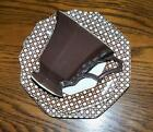 Nikko Cane Brown  Classic Collection Cup and Saucer and Dessert Plate Japan