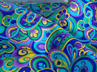 Blank Quilting Fabric AdelineTurquoise bright bold swirl flowers cotton sew BTY